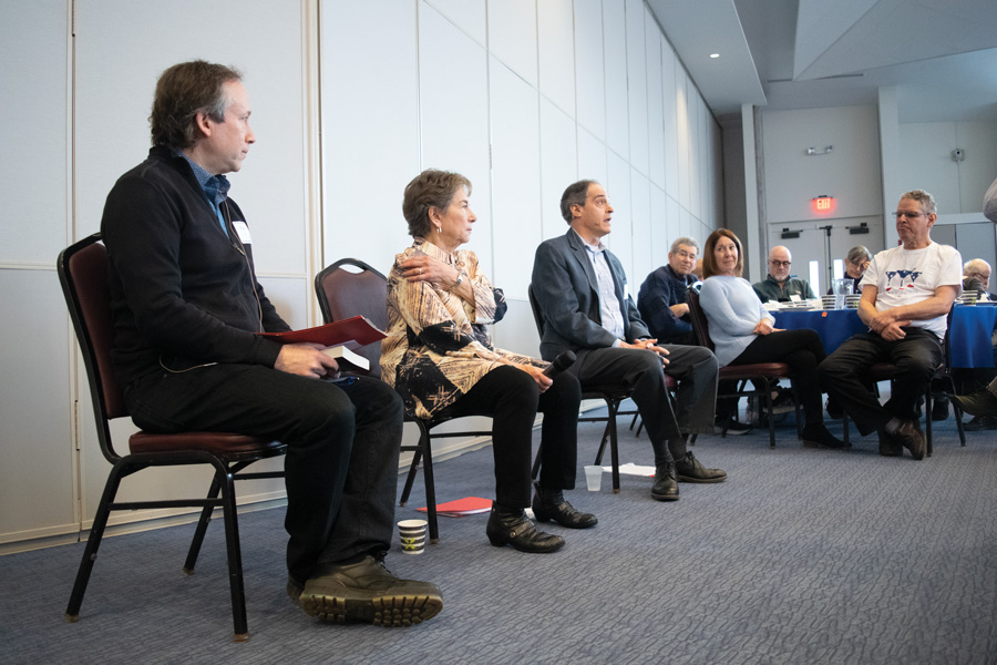 Author Mark Caro (left,) U.S. Rep. Jan Schakowsky (D-Evanston) and Northwestern assistant Medill Prof. Jon Marshall participated in a panel about politics hosted by Beth Emet Synagogue on Sunday. Members of the synagogue ate brunch as they listened.