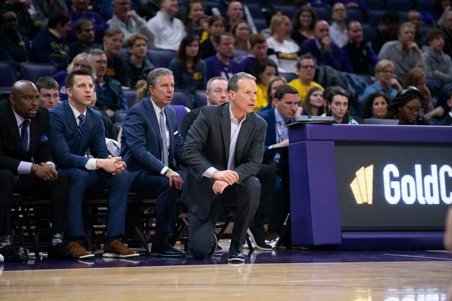 Chris Collins watches from the sideline during a game. If the Wildcats lose to Minnesota on Sunday, they'll reach their longest losing streak of Collins' career.