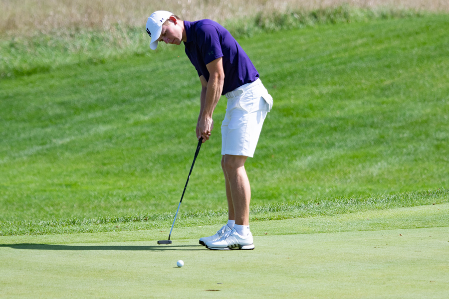 David Nyfjäll lines up to put. He iced Northwestern's win on the green at Big Ten match play.