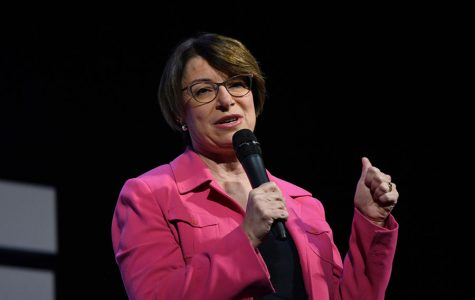 Democratic presidential candidate Amy Klobuchar speaks at the