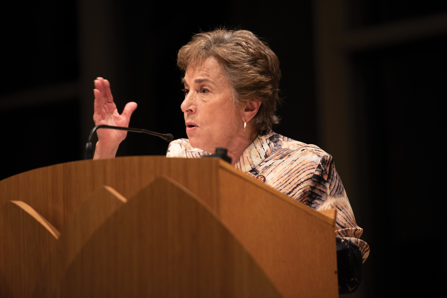 Rep. Jan Schakowsy (D-Evanston). Schakowsky attended the Democratic Party of Evanston's ranked choice voting session on Sunday night, and spoke in favor of her candidate of choice, Elizabeth Warren.