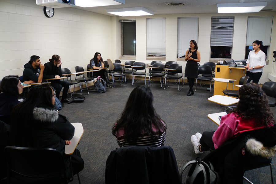 Shobhana Verma, SAAPRI executive director, speaks to an audience of Northwestern students. She discussed the importance of reporting accurate census data, and how the South Asian community is at risk of being undercounted.