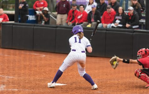 Rachel Lewis takes a pitch. The junior second baseman hit .357 this weekend.