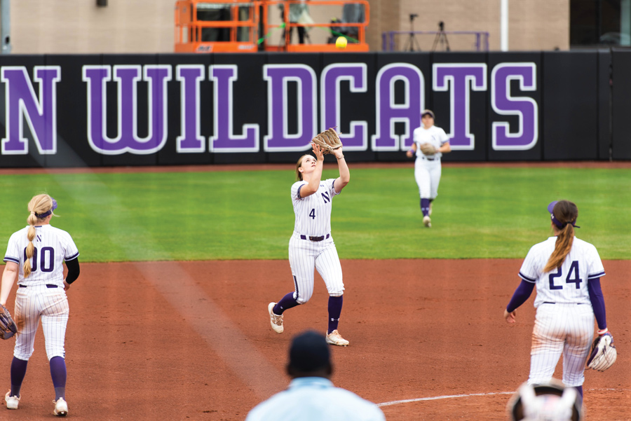 Maeve Nelson catches a pop fly. Northwestern participated in the Mary Nutter Classic this weekend.