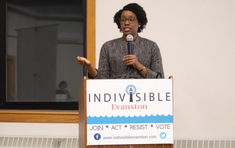 U.S. Rep. Lauren Underwood (D-Naperville). Underwood spoke at an Indivisible Evanston event regarding her election campaign against Republican Jim Oberweis.