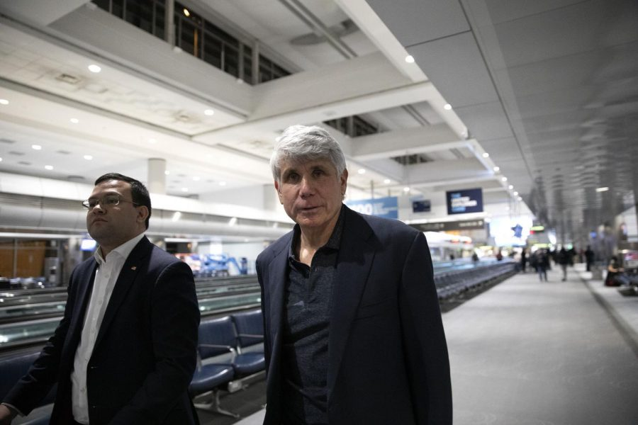 Former Illinois Gov. Rod Blagojevich arrives to Denver International Airport on Tuesday, Feb. 18, 2020, in Colorado.