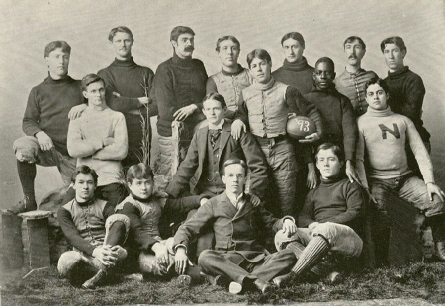 The 1893 Northwestern football team. George Jewett is second from the right in the second row.