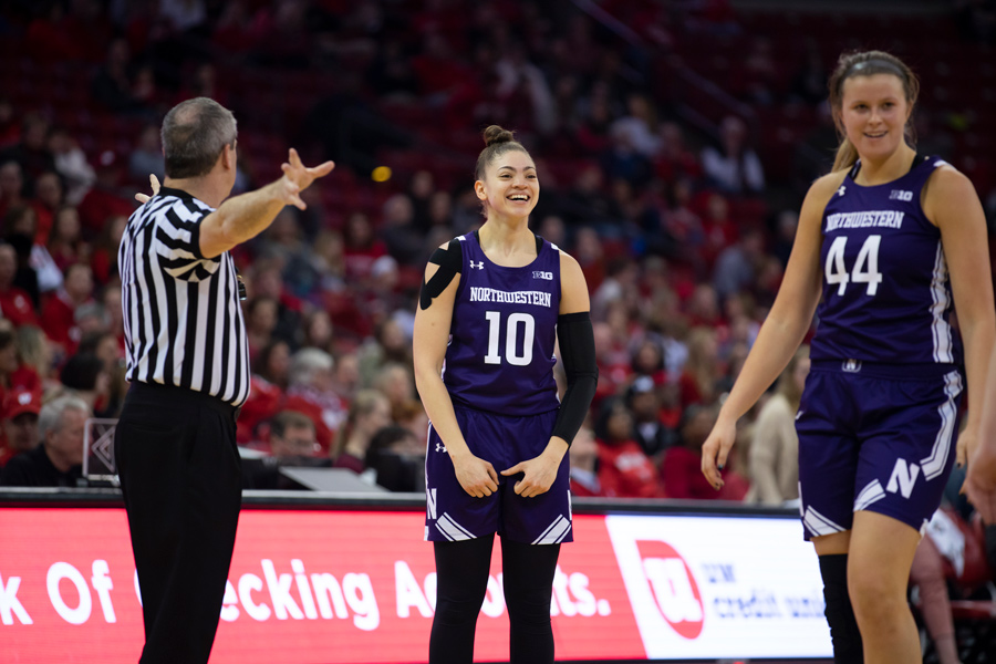 Lindsey+Pulliam+smiles+after+a+shot.+The+junior+guard+and+the+Wildcats+are+one+win+away+from+a+share+of+the+Big+Ten+title+for+the+first+time+since+the+1989-90+season.