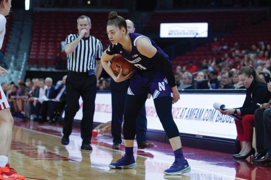 Lindsey Pulliam makes a move. The junior guard led all scorers with 28 points in NU's win over Wisconsin.