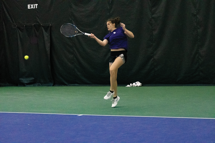 Julie Byrne hits the ball. Byrne's doubles partnership with Hannah McColgan went 2-0 in Northwestern's two ITA Kickoff wins.