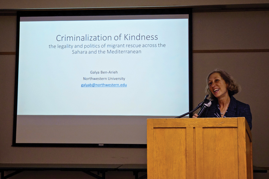 Political Science Prof. Gayla Ben-Arieh. Ben-Arieh gave a lecture at Evanston Public Library discussing the way nations restrict NGOs from helping migrants.