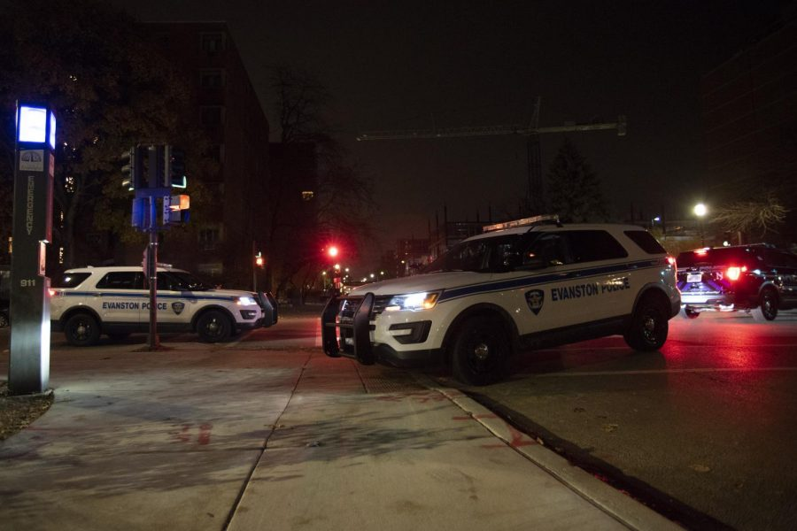 Evanston Police Department vehicles. Officers responded to a call about shots fired in the 300 block of Custer Ave.