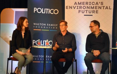 """From left to right: Liz Crampton, Rick Bayless and Rodger Cooley. Crampton, a Politico agriculture reporter, moderated the panel """"On the Menu — The Food System of the Future."""""""