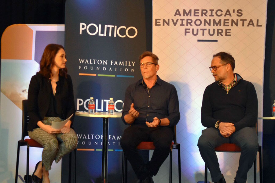 "From left to right: Liz Crampton, Rick Bayless and Rodger Cooley. Crampton, a Politico agriculture reporter, moderated the panel ""On the Menu — The Food System of the Future."""