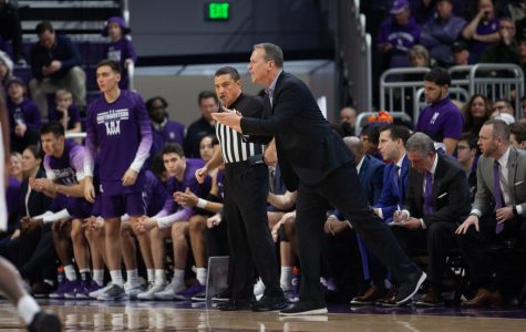 (Daily file photo by Joshua Hoffman). Chris Collins coaches from the sideline. He led Northwestern to an upset win Saturday.