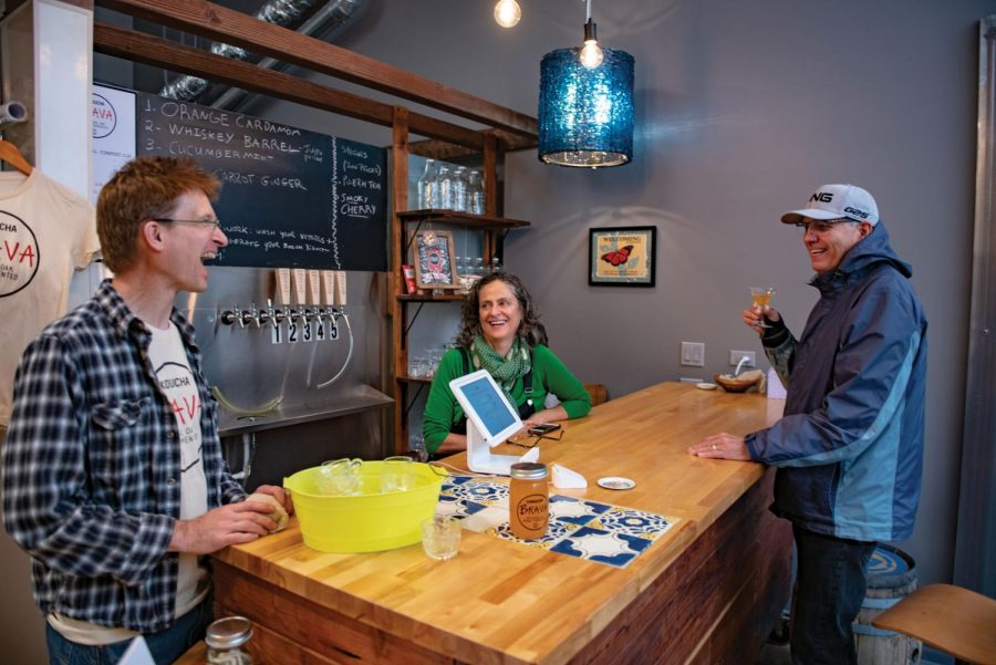 Evanston couple Regina Sant'Anna and Douglas Skites opened Kombucha Brava's taproom in July 2018. The business will participate in the Evanston Craft Beverage Crawl on May 14.
