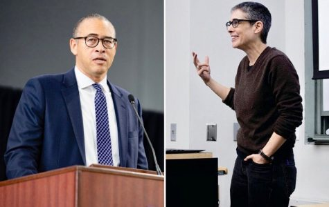 Provost Jonathan Holloway (left) and Political Science Prof. Jacqueline Stevens (right). Stevens is one of a number of faculty members who expressed concern over Holloway's announcement that all undergraduate finals would be optional.