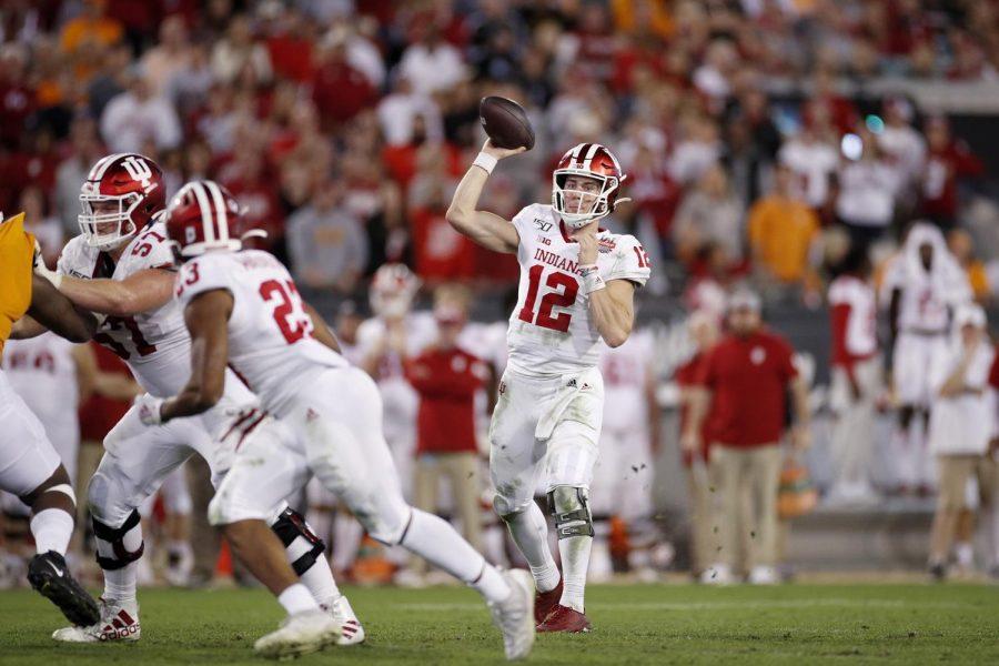 (Joe Robbins/Getty Images/TNS) Indiana quarterback Peyton Ramsey in the TaxSlayer Gator Bowl on Jan. 2, 2020.