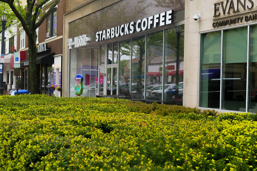 Starbucks in downtown Evanston, 1734 Sherman Ave. The coffee shop is among the numerous businesses in Evanston taking increased precautions in response to the coronavirus.