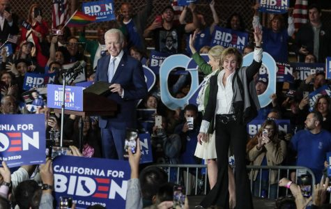 Democratic Presidential hopeful Joe Biden takes the stage with his wife, Jill, and sister, Valerie, right, during a campaign rally at the Baldwin Hills Recreation Center in Los Angeles on Tuesday, March 3, 2020. Biden declared victory in the Illinois presidential primary on March 17.