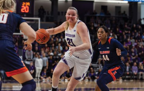 Abbie Wolf makes a move against Illinois. The senior forward/center has developed into one of the Big Ten's best post-up players in her four years in Evanston.