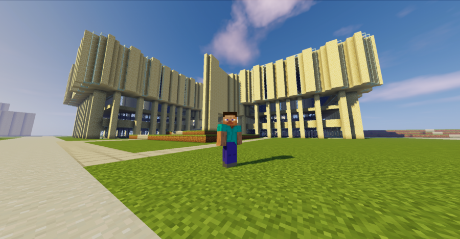 A screenshot of the Northwestern University campus on Minecraft. Structures such as Main Library, Norris University Center and the Weber Arch are a few of the sites that can be accessed on the virtual campus.
