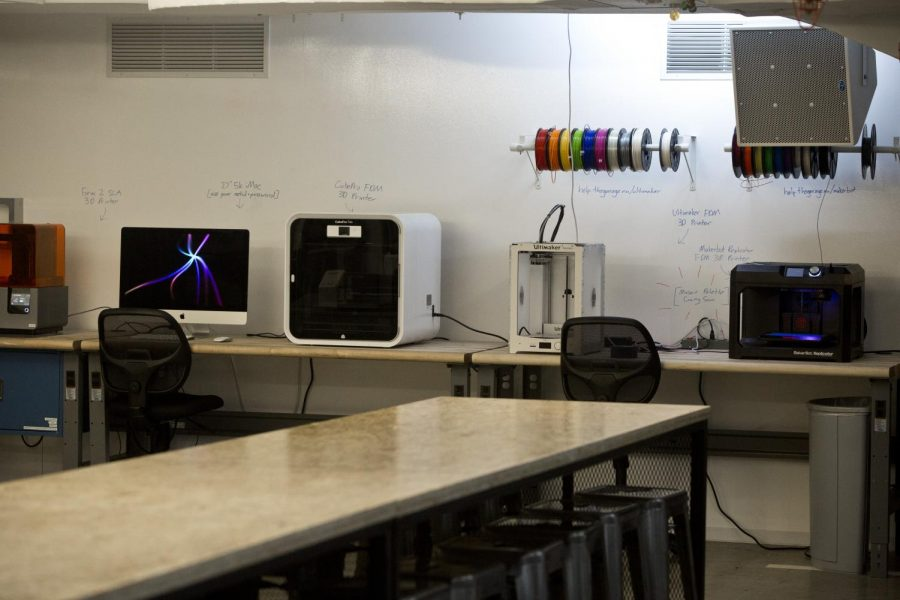 The Garage's 3D printers sit unused this quarter. Resident teams have had to acclimate to working on their startups remotely.