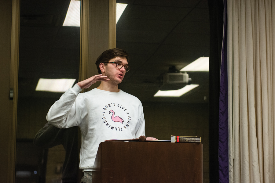 Current speaker of the Senate Matthew Wylie. The Weinberg junior came under fire at Wednesday's Senate meeting for his sharing of a racist meme in a private ASG communication channel in January.