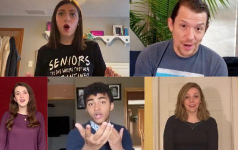 """Illinois high school students sing in their submissions to """"Around Broadway In 80 Days."""" Hamilton's Miguel Cervantes (pictured top right) is the emcee for the virtual showcase."""