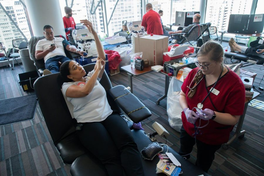 A Red Cross blood drive at Lurie Children's Hospital in Chicago. Amid the pandemic, blood service provider Vitalant canceled 95 percent of their community blood drives.