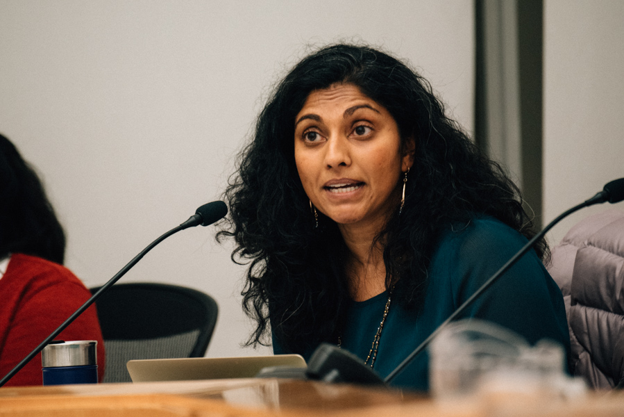 Board president Suni Katha. At Monday's board meeting, Evanston/Skokie School District 65 board members discussed various scenarios for education in the fall.