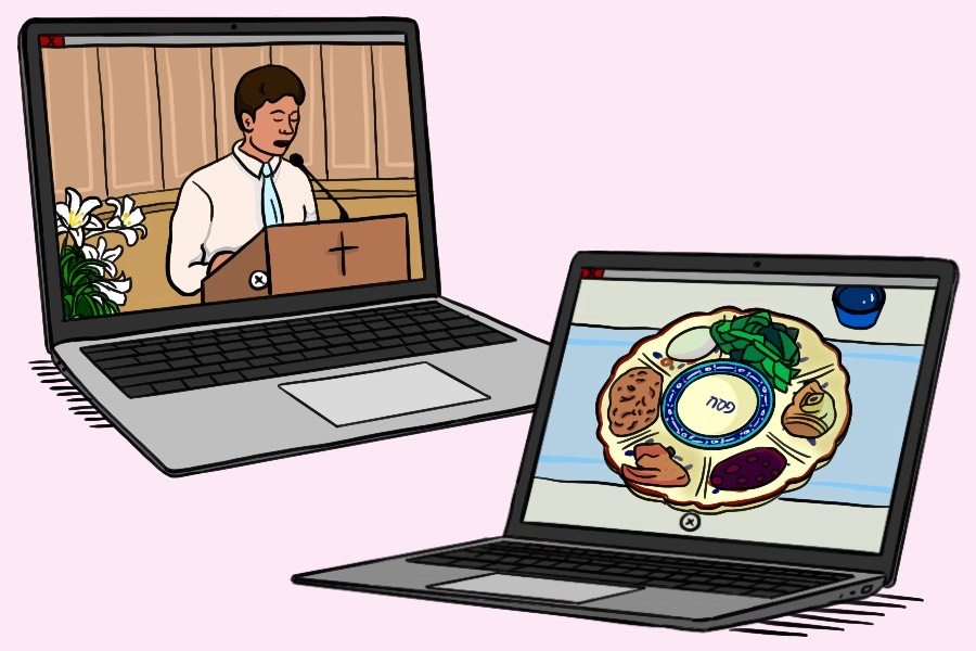 Many students celebrated Easter and Passover during the COVID-19 outbreak by attending virtual gatherings. Churches held livestream services and families hosted seders through Zoom.