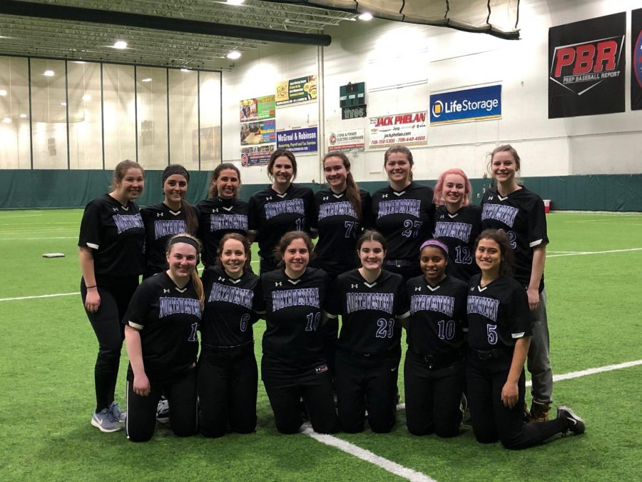 The Northwestern club softball team at a winter tournament. The team and its strong senior class will likely not play another game together this year due to COVID-19.