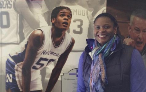 Anucha Browne stands in front of an image of herself. Browne will go down as one of the best basketball players in Northwestern history.
