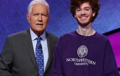 Beni Keown posing with Jeopardy host Alex Trebek. Keown qualified for the semi finals of the
