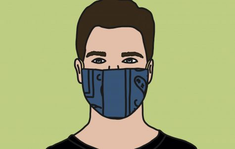 A graphic of a man wearing a homemade mask.