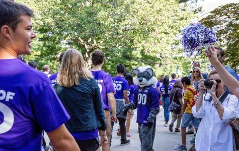 Students participate in March Through The Arch. NSFP is operating under the assumption that Wildcat Welcome will be held on campus in the fall.