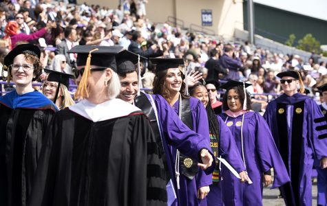 Students with their diplomas during commencement in 2019. This spring, seniors are petitioning to have an in-person ceremony at a later date.
