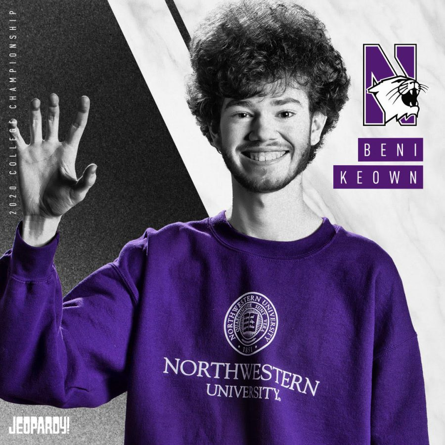 "McCormick freshman Beni Keown forms a claw with his hand, the symbol for the Wildcats. Keown made it to the semifinals of the ""Jeopardy!"" College Championship, making about $8,000 in winnings after taxes."