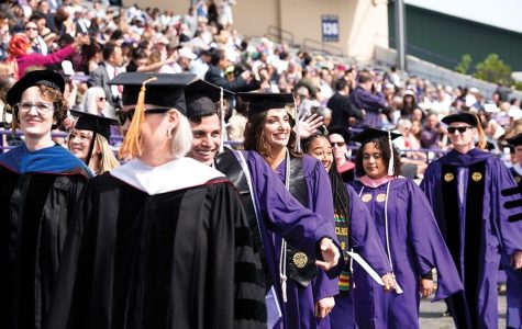 Graduating students during 2019 commencement. In light of the coronavirus pandemic, in-person graduation ceremonies for the Class of 2020 will occur next June, University President Morton Schapiro announced Friday.
