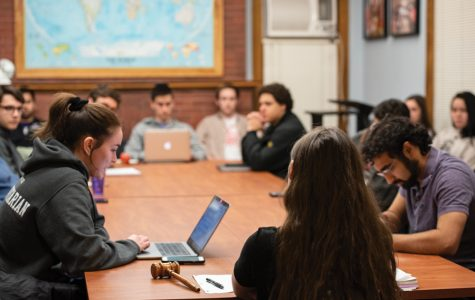 Elizabeth Sperti delivers a statement during a previous Political Union meeting. The Weinberg sophomore argued in favor of ASG's importance to students.