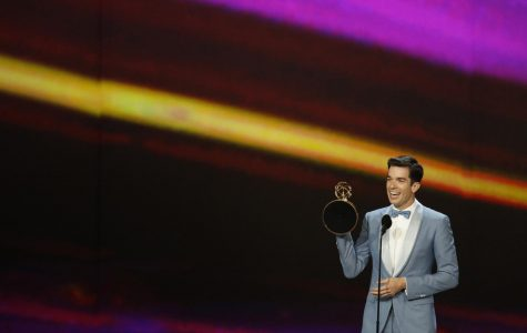 John Mulaney accepting his Emmy he won for