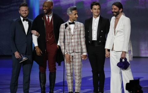 Jonathan Van Ness, right, with the other four Queer Eye cast members onstage during the 70th Primetime Emmy Awards at the Microsoft Theater in Los Angeles on Monday, Sept. 17, 2018. Van Ness will be speaking at a virtual Q&A on May 7 as part of A&O's Spring Speaker Series.