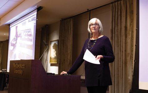 """Faculty Senate president and Feinberg prof. Lois Hedman at a March meeting. Interim Provost Kathleen Hagerty said the future may be """"terrible"""" for the academic job market at last week's Faculty Senate meeting."""