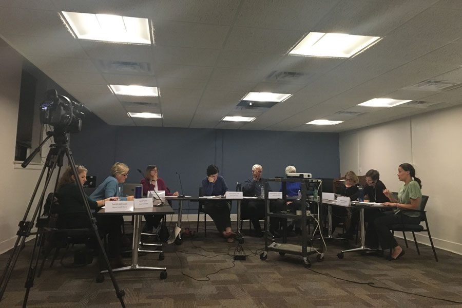 Evanston's Mental Health Board at a November 2018 meeting. Like other boards, commissions and committees in Evanston, the Mental Health Board is adjusting to cancelations and delays.