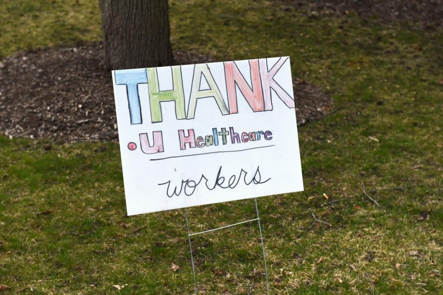 A+banner+thanking+health+care+workers+hangs+outside+NorthShore+Evanston+Hospital.+Since+the+pandemic+began%2C+Evanston+residents+have+shown+their+support+for+medical+staff.+%0A