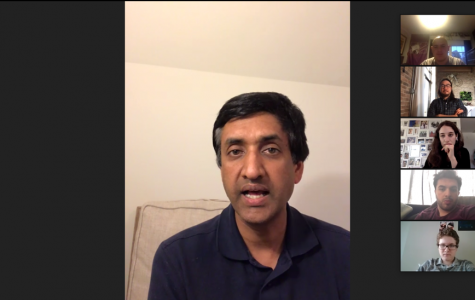 Congressman Ro Khanna speaks during a Zoom meeting with Northwestern University College Democrats. Khanna described a planned $2,000 monthly stimulus check and other coronavirus relief efforts.