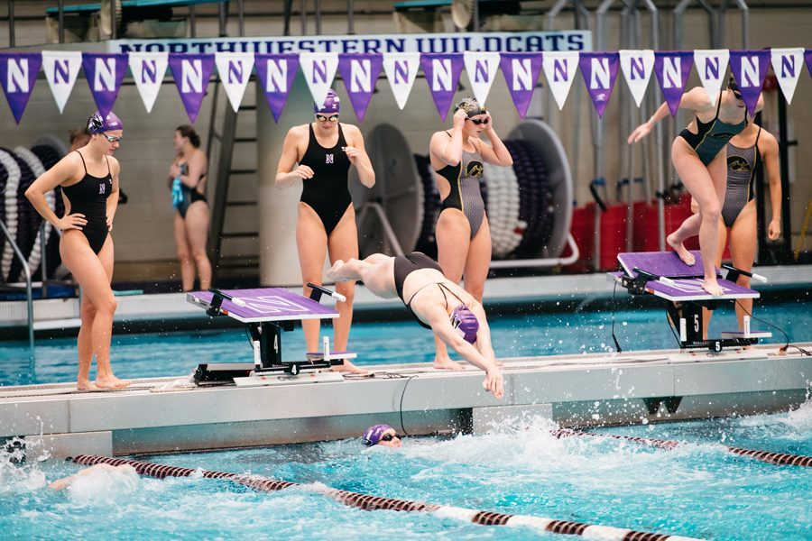 A Northwestern swimmer leaps into the water. With swimming pools not a training option for most of the team, the Wildcats have found alternative means to continue working out.