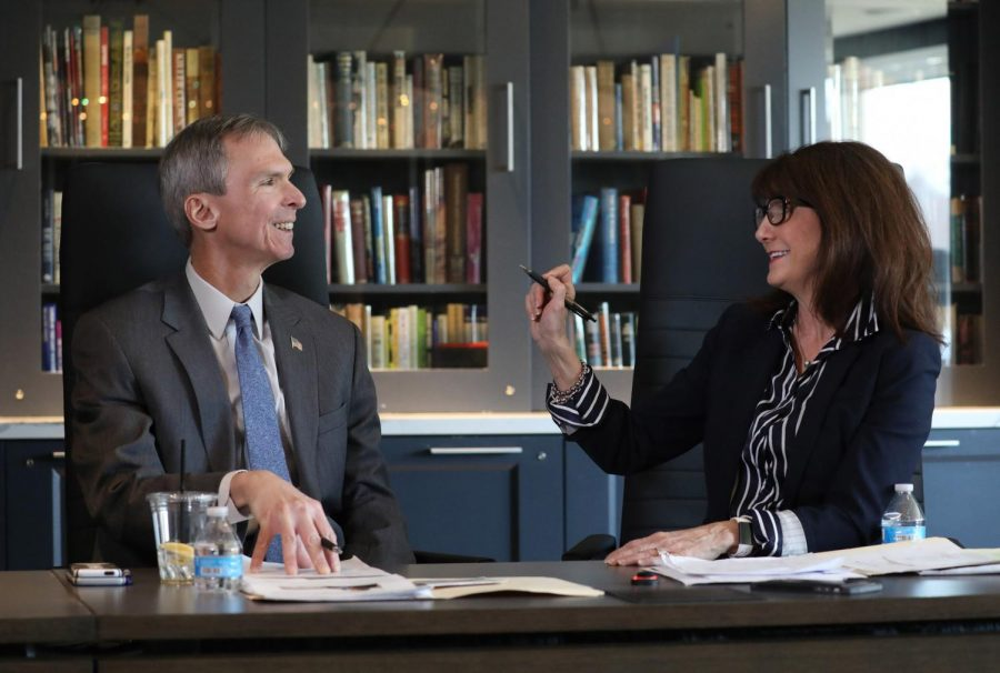 U.S. Rep. Dan Lipinski (D-Western Springs), left, and two-time challenger Marie Newman. Newman defeated the incumbent Lipinksi in the Democratic primary for Illinois' Third Congressional district on Tuesday. Newman spoke to the College Democrats on Thursday.