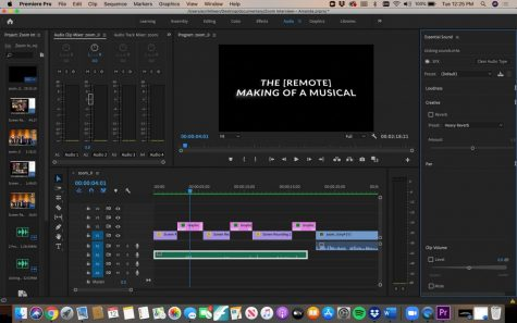 Ezri Killeen's screen while editing. The junior said she'll have the 10-15 minute documentary completed by the end of the quarter.